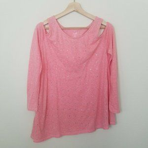 a.n.a Top Blouse Cold Shoulder Long Sleeve Coral